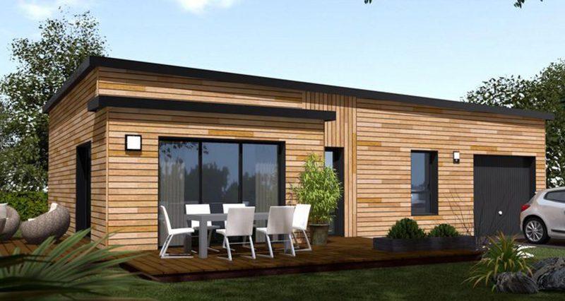 maison bois toit plat