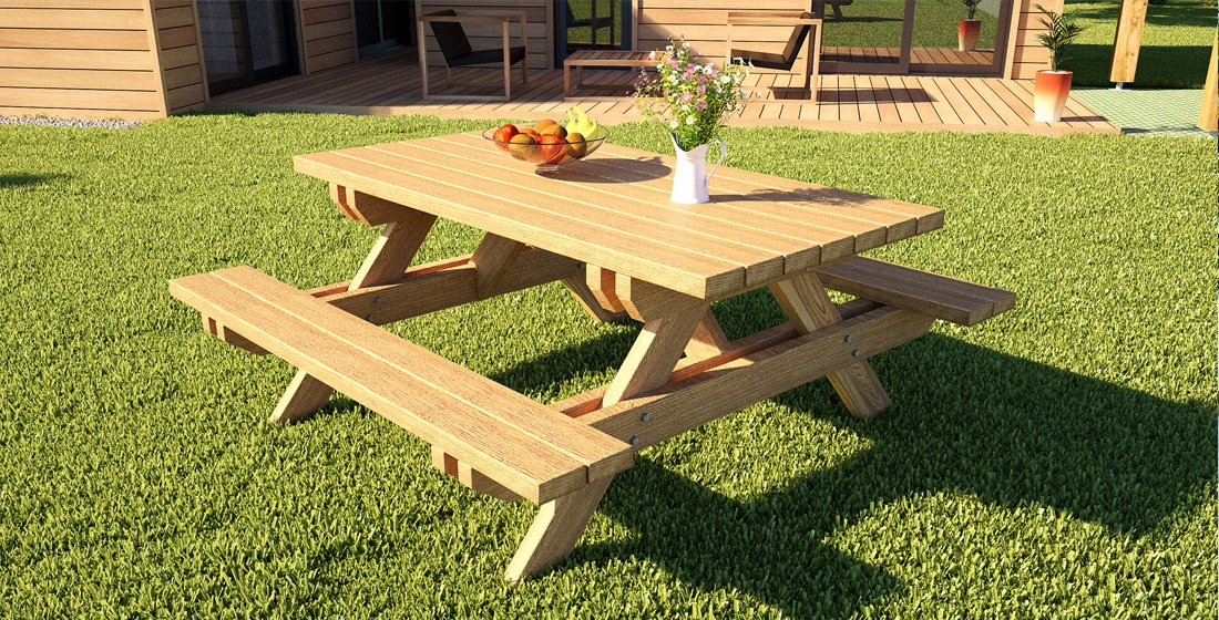 Stunning table de jardin en bois en kit photos awesome for Table bois jardin