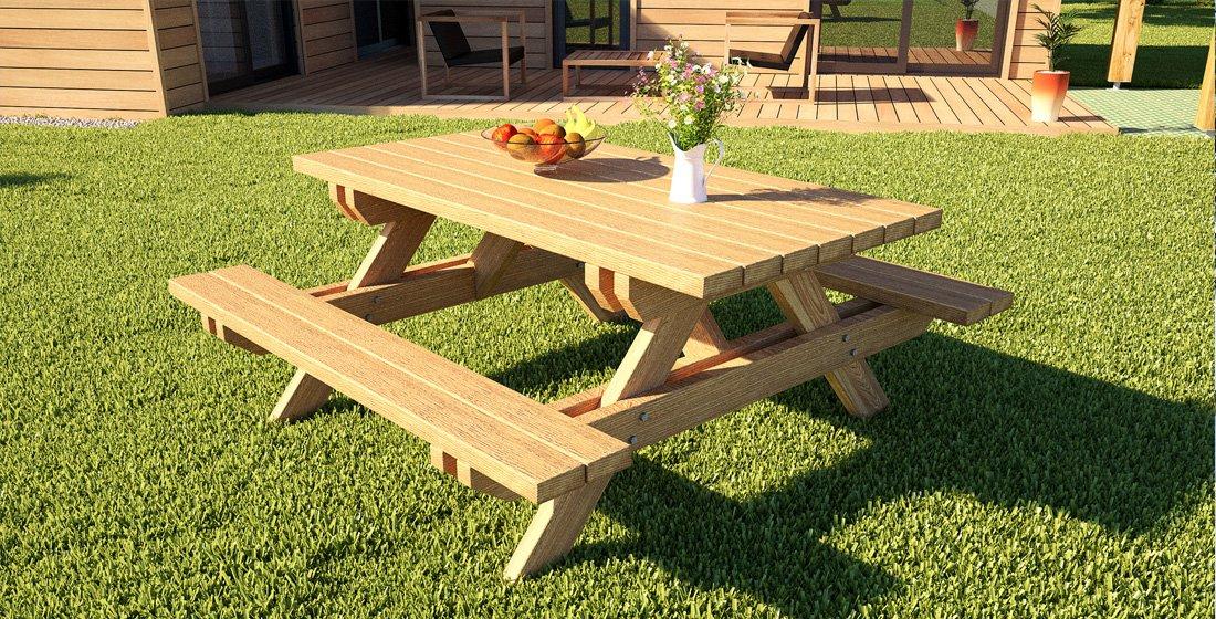 Table de jardin en bois en kit : bois massif ultra résistant