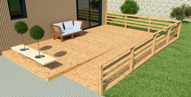 Terrasse en bois pas ch re petite maison bois - Support hamac bois pas cher ...