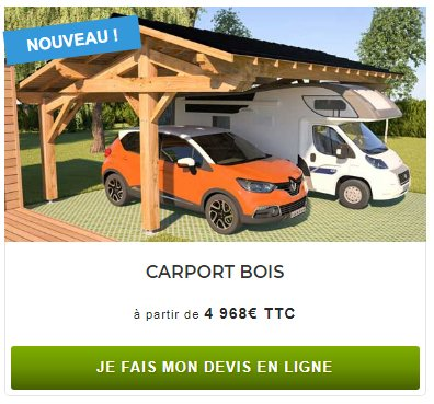 carport bois adoss en kit l 39 abri pour voiture monter soi m me. Black Bedroom Furniture Sets. Home Design Ideas