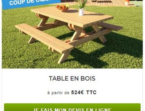 Devis table bois livrée en kit