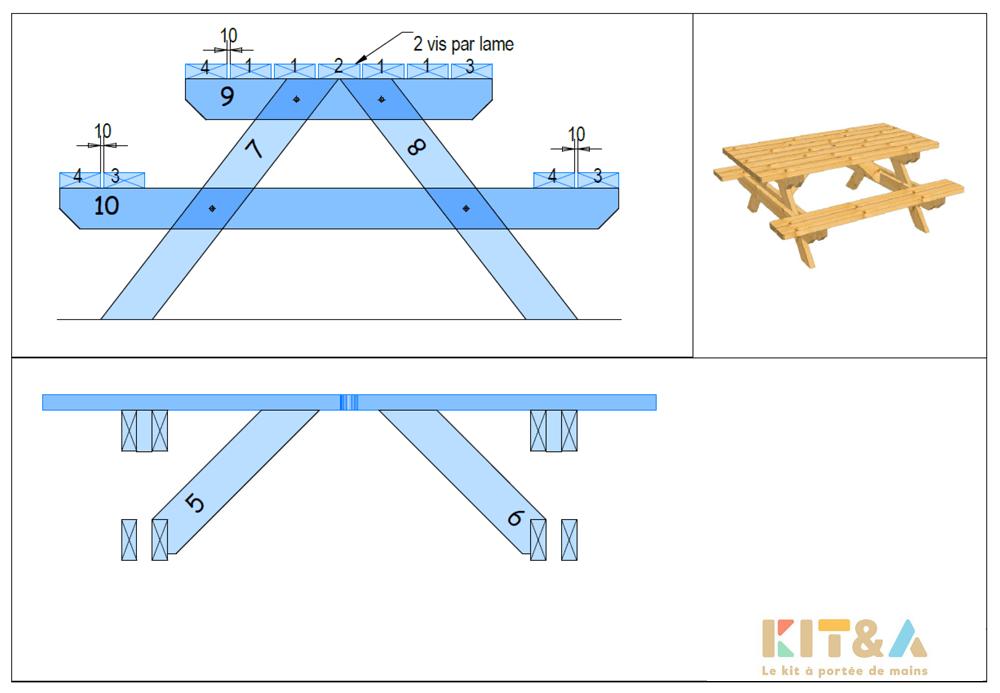 Achat table en bois de jardin en kit